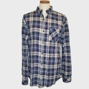 Billabong Long Sleeve Plaid Button Down Blue Tan M